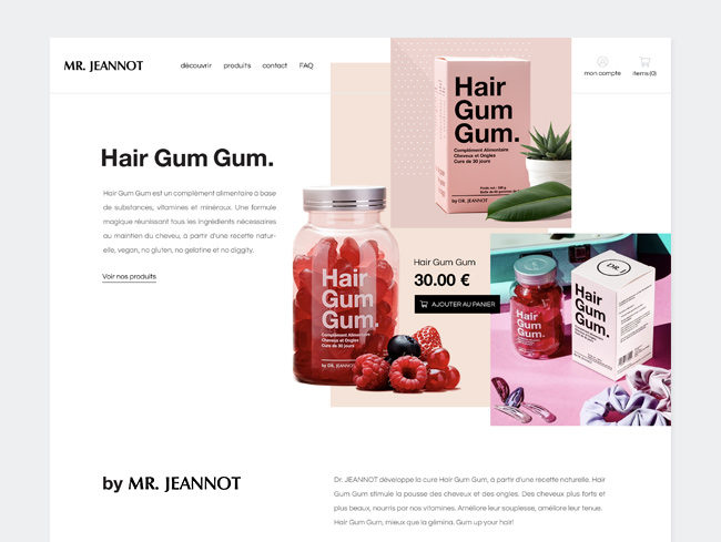 Website design for Mr Jeannot, Hair gum gum, vitamins and supplements for hair growth designed by Laura Dreyfus